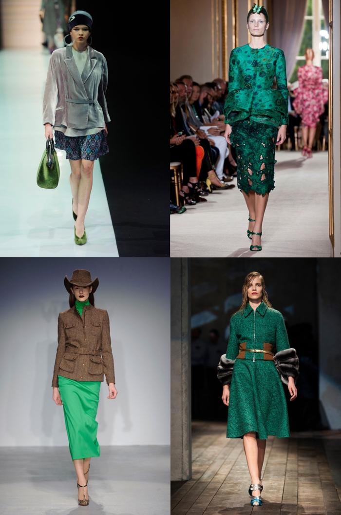 Catwalk verde esmeralda para o inverno